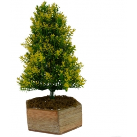 The Fancy Mart Artificial Bonsai Fabric Christmas Tree Yellow Greens With Pot-1 Ft (pack Of 1)