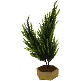 The Fancy Mart Artificial Bonsai Twin Fabric Christmas Tree Green With Pot -1.5 Ft (pack Of 1)