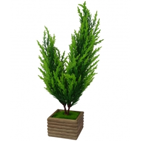The Fancy Mart Bonsai Christmas Tree In Wood Pot Multicolour Greens With Pot Fabric - Pack Of 1