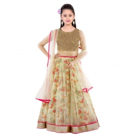The Fashion Up Cream Bhagalpuri Lehenga Choli With Blouse