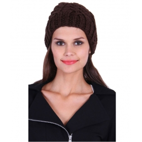 Brown Woollen Skull Cap Women