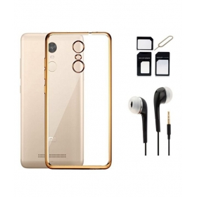Plain Back Cover For Xiaomi Redmi Note 3 With Earphone & Sim Adaptor - Golden