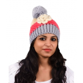 Gray Woollen Cap For Women