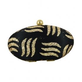 Handicraft Black Fabric Box Clutch