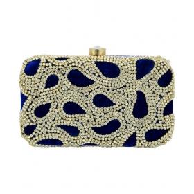 Handicraft Blue Fabric Box Clutch