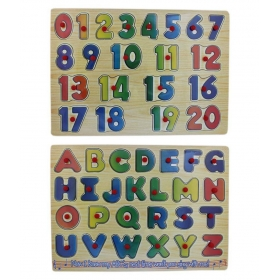 Wooden Alphabet And Number Puzzle Picture Board With Knobs