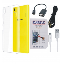 Kartik Soft Transparent Back Cover for Lenovo A7000 With Tempered Glass, AUX Cable, Data cable & OTG Cable
