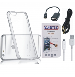 Kartik Soft Transparent Back Cover for Apple iPhone 6 With Tempered Glass, AUX Cable, Data cable & OTG Cable