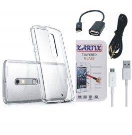 Kartik Soft Transparent Back Cover for Moto G (3rd Generation) With Tempered Glass, AUX Cable, Data cable & OTG Cable