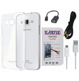Kartik Soft Transparent Back Cover for Samsung Galaxy On5 With Tempered Glass, AUX Cable, Data cable & OTG Cable
