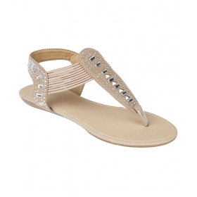 Collection Beige Faux Leather Flat Sandal