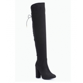 Truffle Collection Black Knee Length Slouch Boots