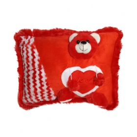 Ultra Cute Teddy Pillow Cushion Red 11x15 Inches