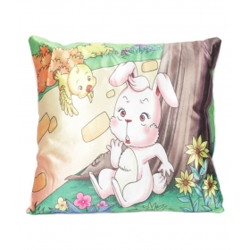 Ultra Premium Printed Cushion Rabbit & Bird, Multi-colour, 13x13 Inches