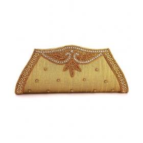 Brown Silk Box Clutch