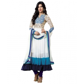 White Partywear Embroidery Anarkali Suit