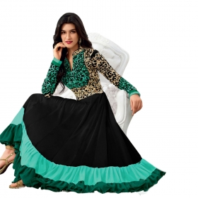 Green Heavy Embroidery Partywear Dress Material