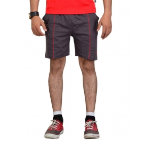 Grey Cotton Solid Style Shorts