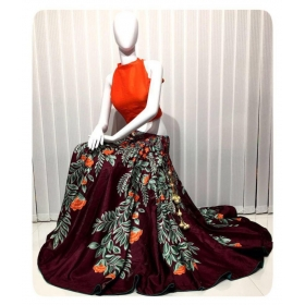 Multicoloured Bangalore Silk Semi Stitched Lehenga