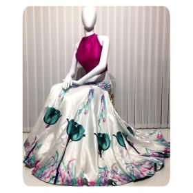 Multicoloured Bangalore Silk Semi Stitched Lehenga