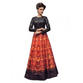 Multicoloured Bangalore Silk Unstitched Lehenga