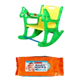 Vinayaka Kids Colour Ajanta Royal Rocking Chair Combo Free Baby Wipes 80 Pcs