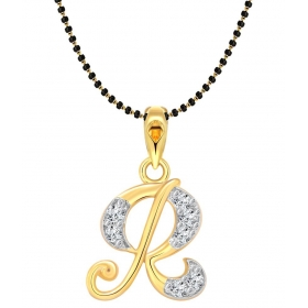 Alloy 24 Kt Gold Plating Cubiz Zirconia Studded Gold Coloured Mangalsutra