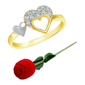 Golden Ring With Red Rose Ring Box