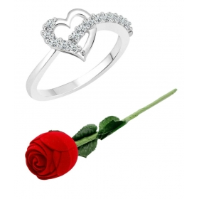 Silver Ring With Red Rose Ring Box