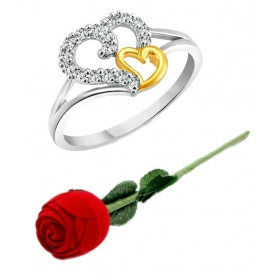 Valentine Silver Couple Heart Cz Silver And Rhodium Plated Alloy Ring For Girls And Women
