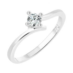 Youth Solitaire Cz Rhodium Plated Alloy Ring For Women And Girls - [vfj1249frr16]