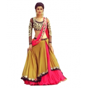 Multicoloured Bangalore Silk Circular Semi Stitched Lehenga