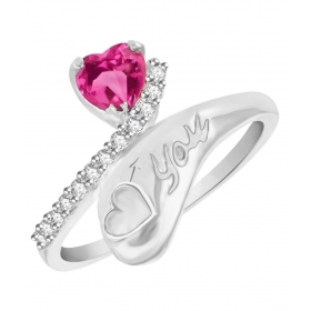 Heart With Love Rhodium Plated Alloy Ring For Women Made With Cubic Zirconia