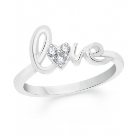 Love Rhodium Plated Alloy Ring