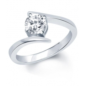 Surprise Delight Rhodium Plated Solitare Ring - Fr1028ra [vkfr1028ra]