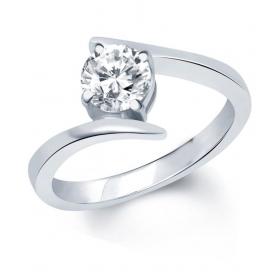 Surprise Delight Rhodium Plated Solitare Ring - Fr1028ra [vkfr1028ra]