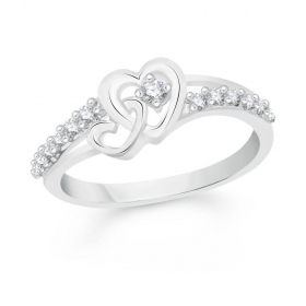 Togetherness Heart Gold And Rhodium Plated Alloy Ring For Women & Girls