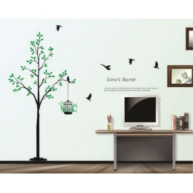Ay811 Tree With Cage Nature Wall Sticker  Jaamso Royals