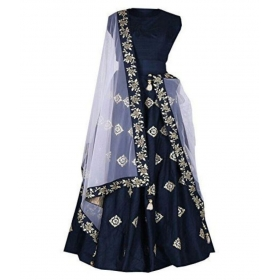 Fashion Blue Taffeta A-line Semi Stitched