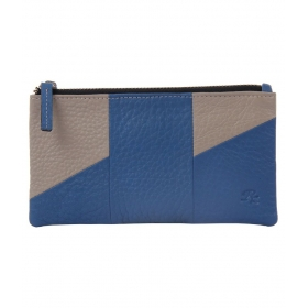 Leather Traveller Wallet - Beige And Blue