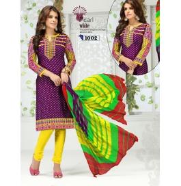 Multi Color Camric Cotton Semi Stitched Dress Materials