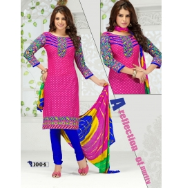 Multi Color Camric Cotton Semi Stitched Dress Materials
