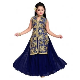 White Button Blue Net Lehenga For Girls