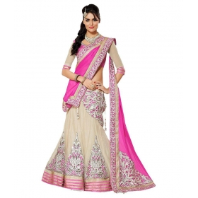 World Beige Georgette Semi Stitched Lehenga
