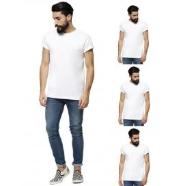 Men's Round Neck White T-shirt Pack Of 4