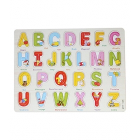 Wooden English Alphabet A To Z With Knob Early Educational Board For Kids