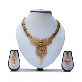 Gold Plated Diamond Necklace Set With Earring