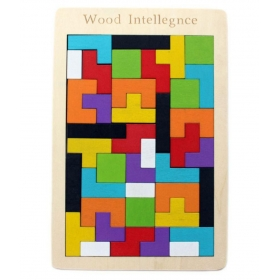 Wooden Tetris Jigsaw Puzzle 40 Pcs - (wntb081) - Brain Teasers Toy Building Blocks