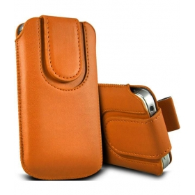 Leather Magnetic Pull Tab Protective Pouch For Samsung S6812 - Galaxy Fame - Orange