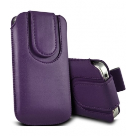 Leather Magnetic Pull Tab Protective Pouch For Samsung Galaxy Note 3 Neo - Dark Purple